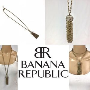 NWT BANANA REPUBLIC necklace crystal+pearl tassels